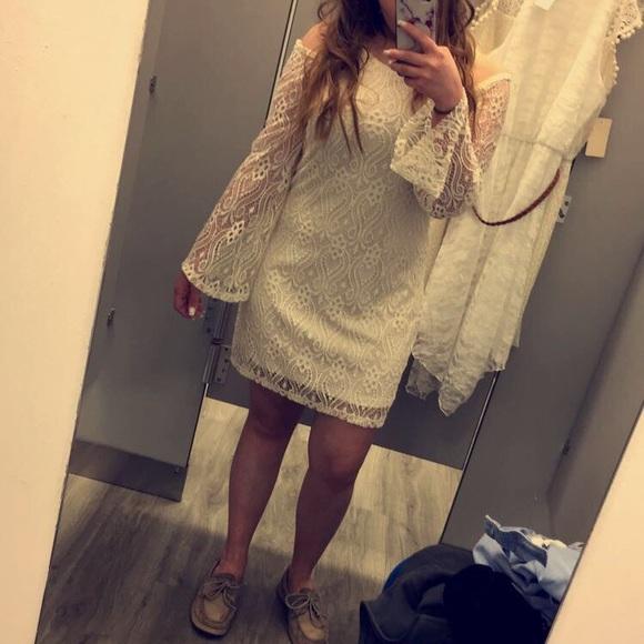No Comment Dresses & Skirts - Cold Shoulder Bell Bottom Sleeve Dress